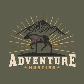 Diseño de emblema de aventura de caza de alces
