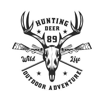 Diseño de emblema de aventura de caza de ciervos