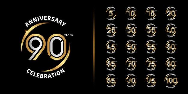 Diseño de emblema de celebración de aniversario de oro y plata.