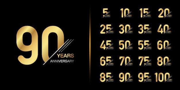 Diseño de emblema de celebración de aniversario de oro.