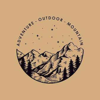 Diseño de emblema de escalada de montaña al aire libre de aventura