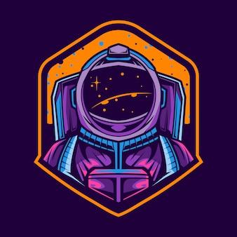 Diseño de emblema de ilustración de astronauta