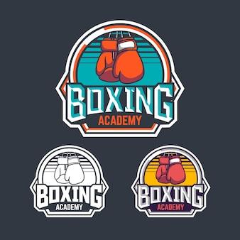 Diseño de emblema de logotipo de insignia retro de academia de boxeo con paquete de ilustración de boxeador