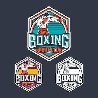 Diseño de emblema de logotipo de insignia retro de club deportivo de boxeo con ilustración de boxeador
