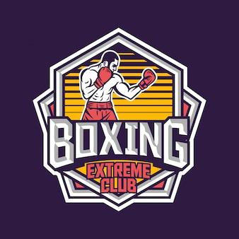 Diseño de emblema de logotipo de insignia retro de club extremo de boxeo con ilustración de boxeador