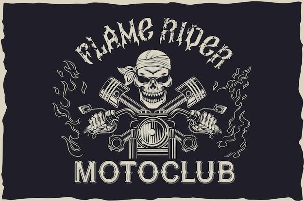 Diseño del emblema del motoclub flame rider