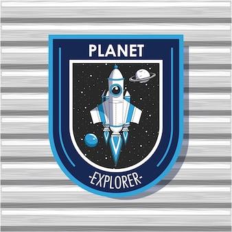 Diseño del emblema del parche del explorador espacial