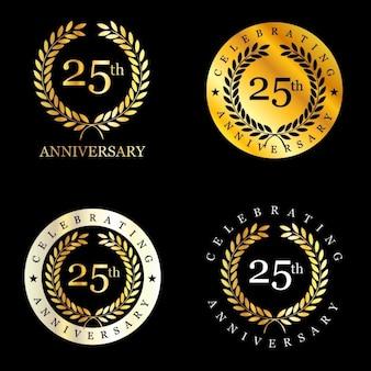 Diseño de emblemas de 25 aniversario