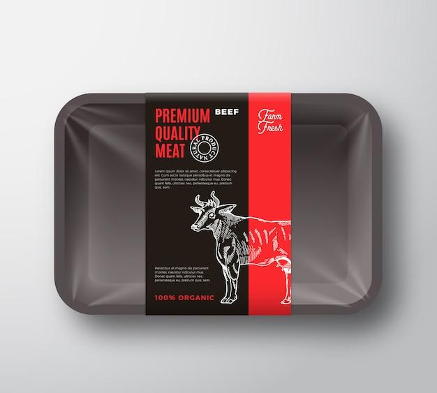 Diseño de empaque de carne de res de primera calidad con franja de etiqueta.