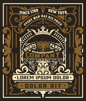 Diseño de empaque de etiqueta de ginebra vintage