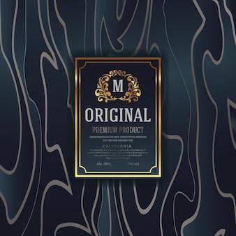 Diseño de empaquetado de lujo premium con etiqueta de emblema heráldico. ilustración vectorial