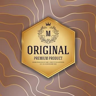 Diseño de empaquetado de lujo premium con etiqueta de emblema heráldico