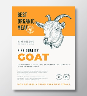 Diseño de empaquetado vector abstracto de carne orgánica o plantilla de etiqueta filetes cultivados en granja banner moderno ...
