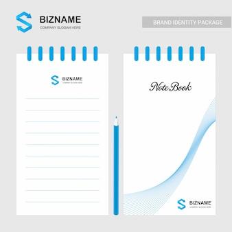Diseño de la empresa bloc de notas con logo y diseño elegante.