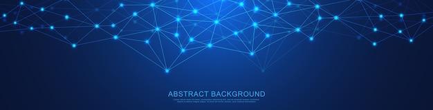 Diseño de encabezado o banner de sitio web con fondo geométrico abstracto y puntos y líneas de conexión. conexión de red global. tecnología digital con fondo de plexo y espacio para su texto.
