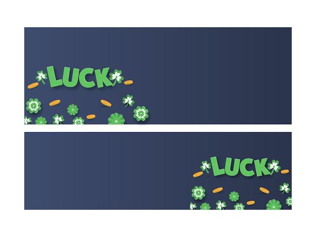 Diseño de encabezado o banner de sitio web con texto de suerte cortado en papel