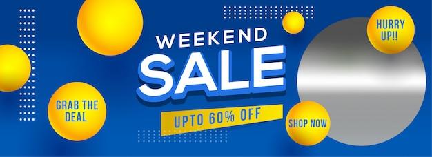 Diseño de encabezado o banner de venta de fin de semana con oferta de 60% de descuento y
