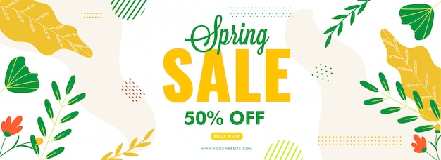 Diseño de encabezado o banner de venta de primavera con oferta de descuento del 50%