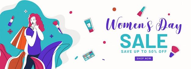 Diseño de encabezado o pancarta de venta del día de la mujer con una oferta de descuento del 50%, artículos cosméticos y una chica joven con bolsa de compras sobre fondo blanco.