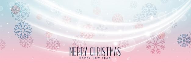 Diseño encantador de la bandera de los copos de nieve de la feliz navidad
