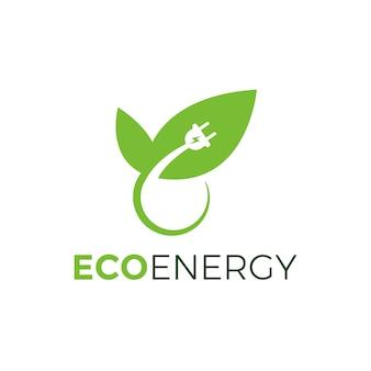 Diseño de enchufe de alimentación ecológico verde con hoja, vector de diseño de plantilla de logotipo eco energy