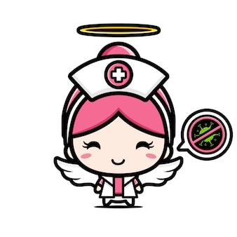 El diseño de la enfermera es un ángel con un símbolo de detener el virus.