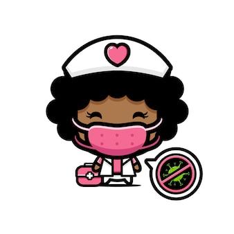 Diseño de una enfermera con una máscara