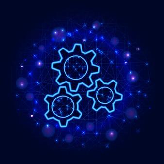 Diseño de engranajes. engranaje polivinílico bajo tres engranajes, fondo abstracto. ingeniería mecánica de máquinas