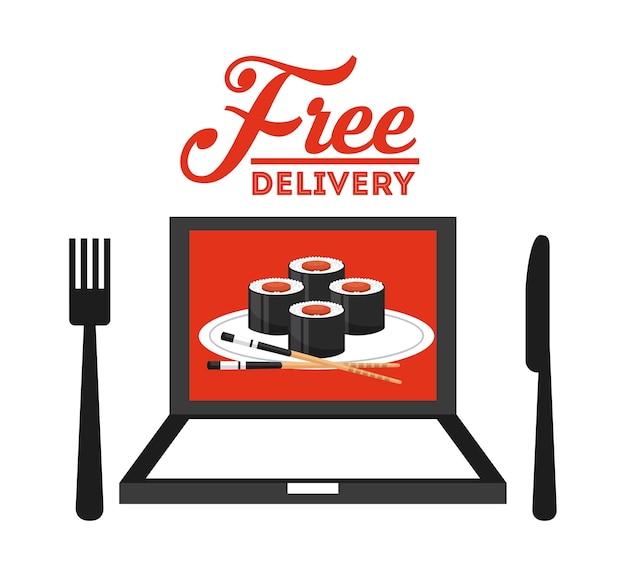 Diseño de entrega de alimentos, ilustración vectorial gráfico eps10
