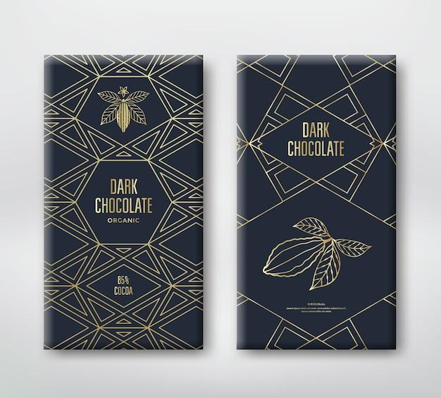 Diseño de envases de chocolate o cacao y elementos de diseño. ilustración de línea vectorial