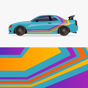 Diseño de envoltura de automóvil con líneas coloridas