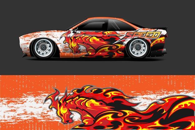 Diseño de envoltura de vehículo y adhesivo de vinilo con fondo abstracto de carreras