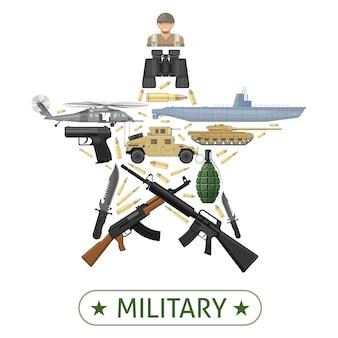 Diseño de equipo militar en forma de estrella con vehículos de combate, armas, municiones