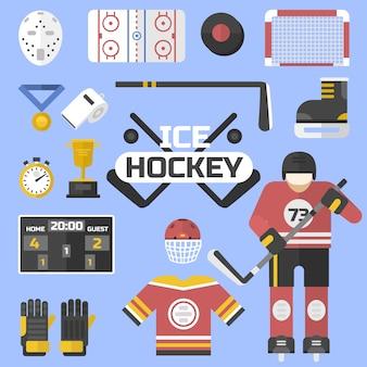 Diseño de equipos de iconos de deporte de hockey