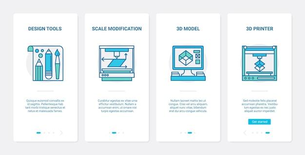 Diseño de equipos ux, ui onboarding mobile app page screen set con herramientas de diseño de línea