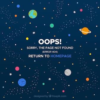 Diseño de error 404 con espacio