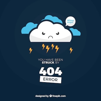 Diseño de error 404 con nube enfadada