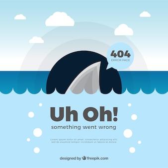 Diseño de error 404 con tiburón