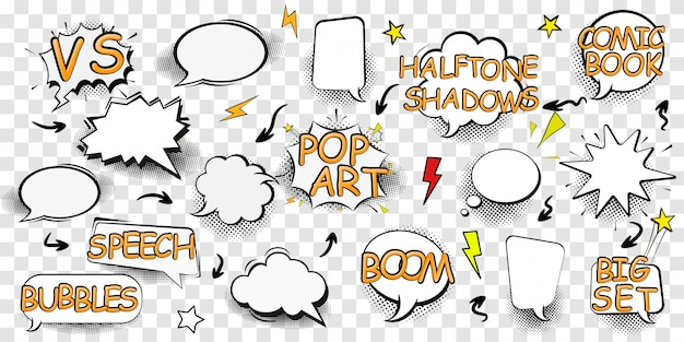 Diseño de escenografía de efecto boom para cómic. nube de cómic bang, símbolo de sonido pow, bomba pow. conjunto de burbujas de discurso cómico. ilustración para cómics, banners de redes sociales, material promocional