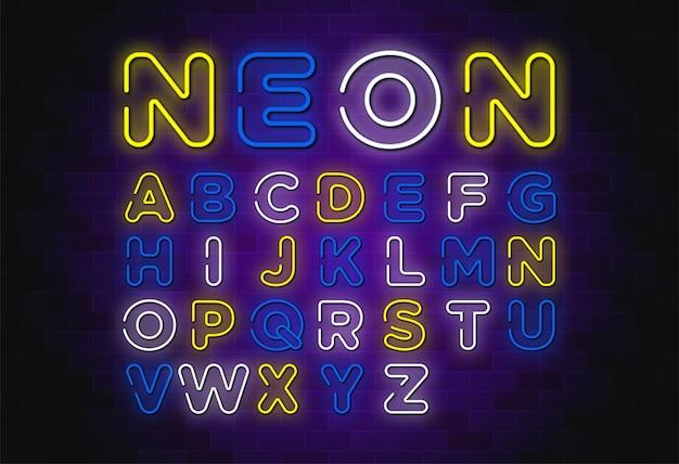 Diseño de escenografía de neón alfabeto inglés.