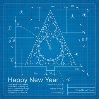 Diseño de escenografía de silueta de abeto de vacaciones para un día de navidad feliz