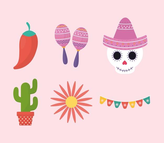 Diseño de escenografía de símbolos del día mexicano de los muertos, tema de la cultura de méxico.