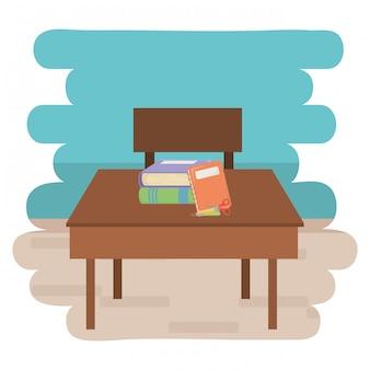Diseño de escritorio y útiles escolares