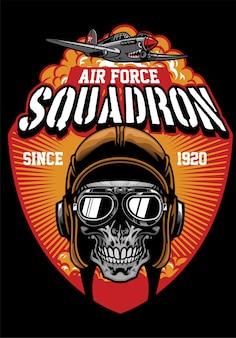 Diseño de escuadrón de la fuerza aérea del piloto del cráneo