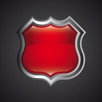 Diseño de escudo sobre fondo negro ilustración vectorial