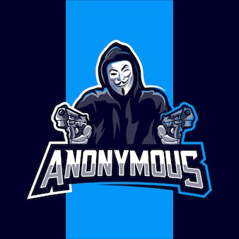 Diseño de esport de logotipo de mascota anónimo