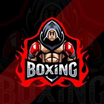 Diseño de esport de logotipo de mascota de boxeo