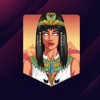 Diseño de esport del logotipo de la mascota de cleopatra