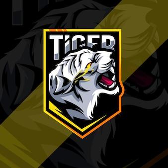 Diseño de esport del logotipo de la mascota enojada del tigre blanco