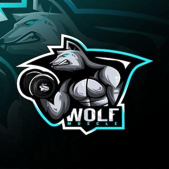 Diseño de esport de logotipo de mascota de fitness lobo